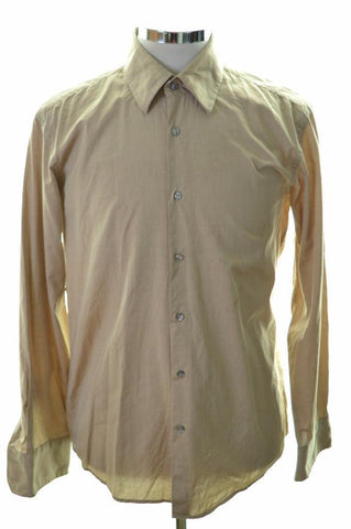 Hugo Boss Mens Shirt Medium Beige Cotton