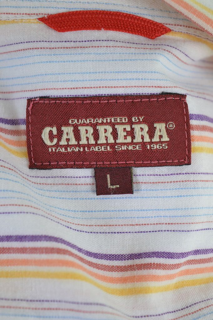 CARRERA Mens Shirt Large Multi Stripes Cotton - Second Hand & Vintage Designer Clothing - Messina Hembry
