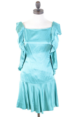 KAREN MILLEN Womens Trumpet Dress Size 8 Small Turquoise Viscose