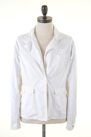 TOMMY HILFIGER Womens Jacket Size 14 Medium White Cotton