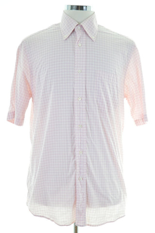 Hugo Boss Mens Shirt Size 39 15 1/2 Medium Pink Check Cotton