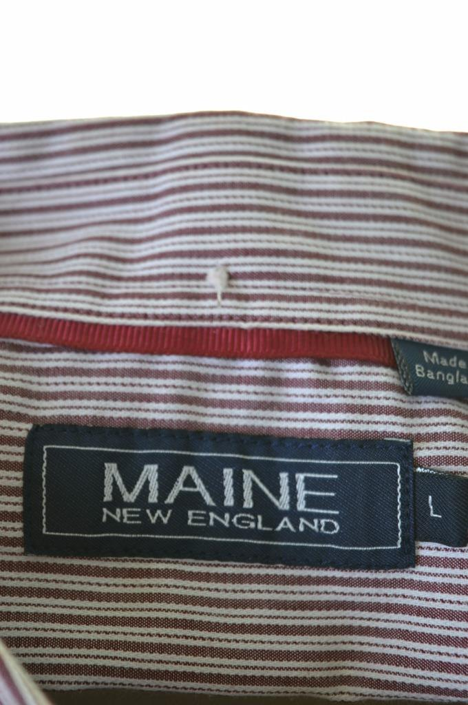 Maine Mens Shirt Large Burgundy Stripes Cotton Polyester - Second Hand & Vintage Designer Clothing - Messina Hembry