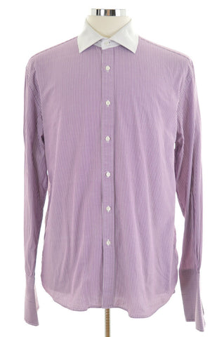 Daniel Hechter Mens Shirt Size 43 16 1/2 Large Purple Stripes Cotton