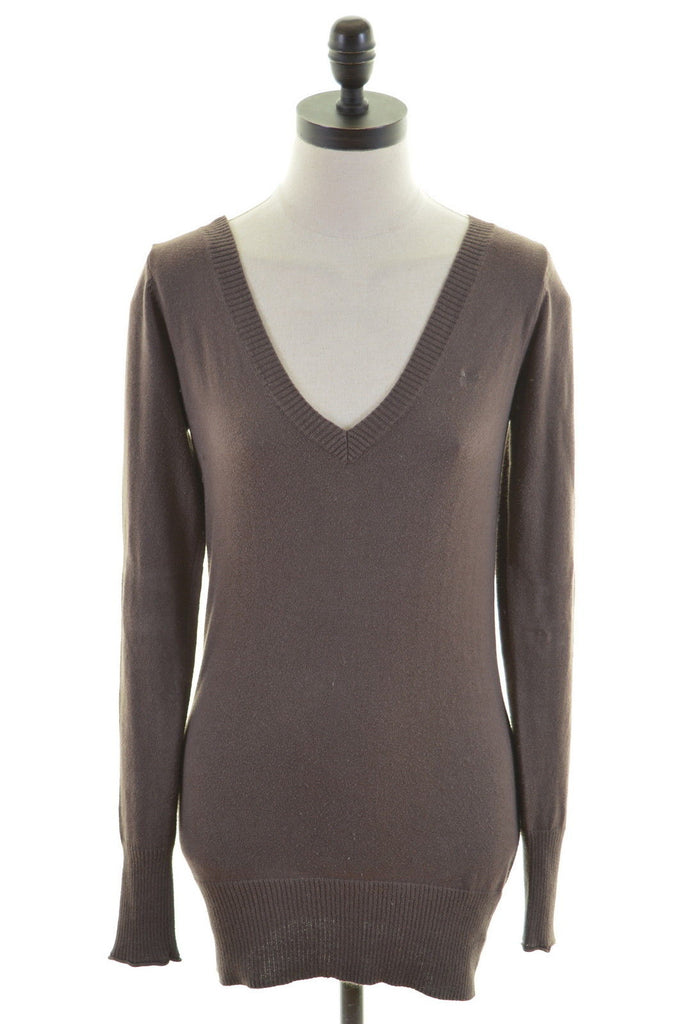 CREW CLOTHING CO. Womens V-Neck Jumper Sweater Size 8 Small Brown Cotton - Second Hand & Vintage Designer Clothing - Messina Hembry