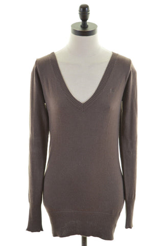 CREW CLOTHING CO. Womens V-Neck Jumper Sweater Size 8 Small Brown Cotton