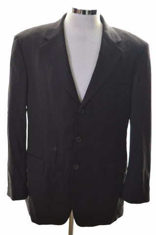 Hugo Boss Mens Blazer Jacket Size 40 Medium Black Stripes Wool Viscose