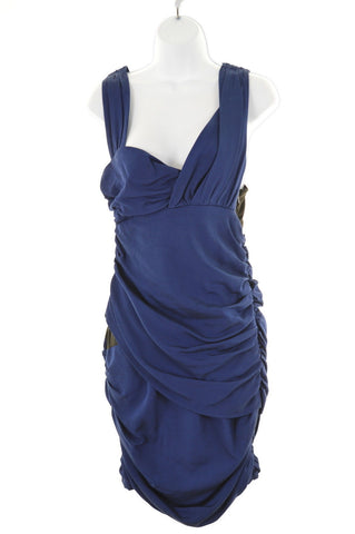 REISS Womens Front Plunge Dress Size 6 XS Blue Viscose
