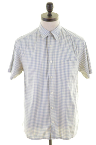DKNY Mens Shirt Medium Off White Check Cotton Loose Fit