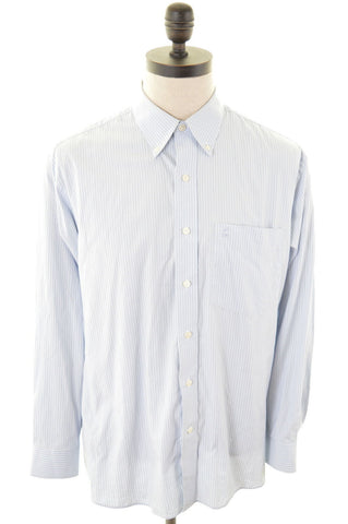 DANIEL HECHTER Mens Shirt Large Blue Stripes Cotton