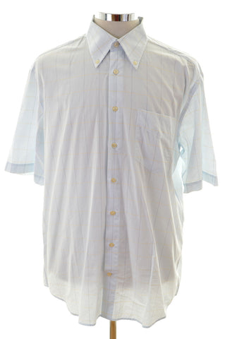 Daniel Hechter Mens Shirt Size 41 Medium Blue Check Cotton Loose Fit