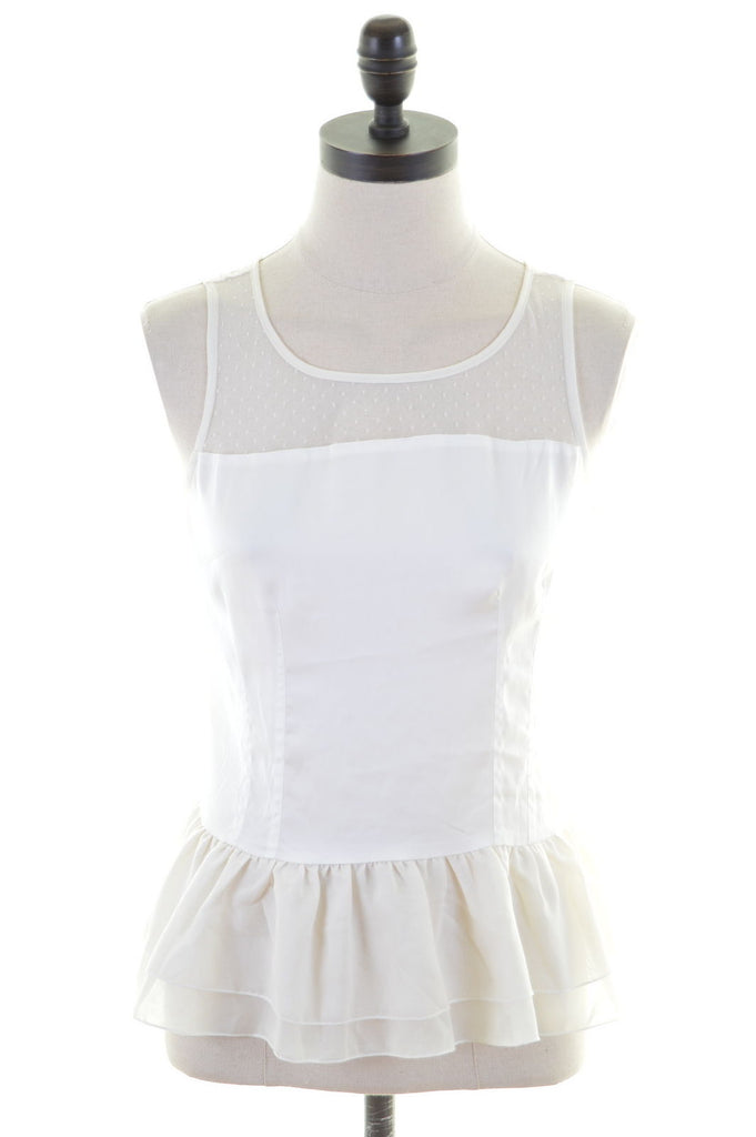 PRINCESS VERA WANG Womens Peplum Top Blouse Size 8 Small White Polyester - Second Hand & Vintage Designer Clothing - Messina Hembry