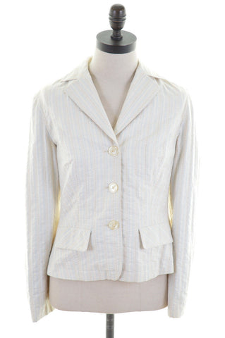 LIU JO Womens Blazer Jacket Size 40 12 Medium Yellow Blue Stripes