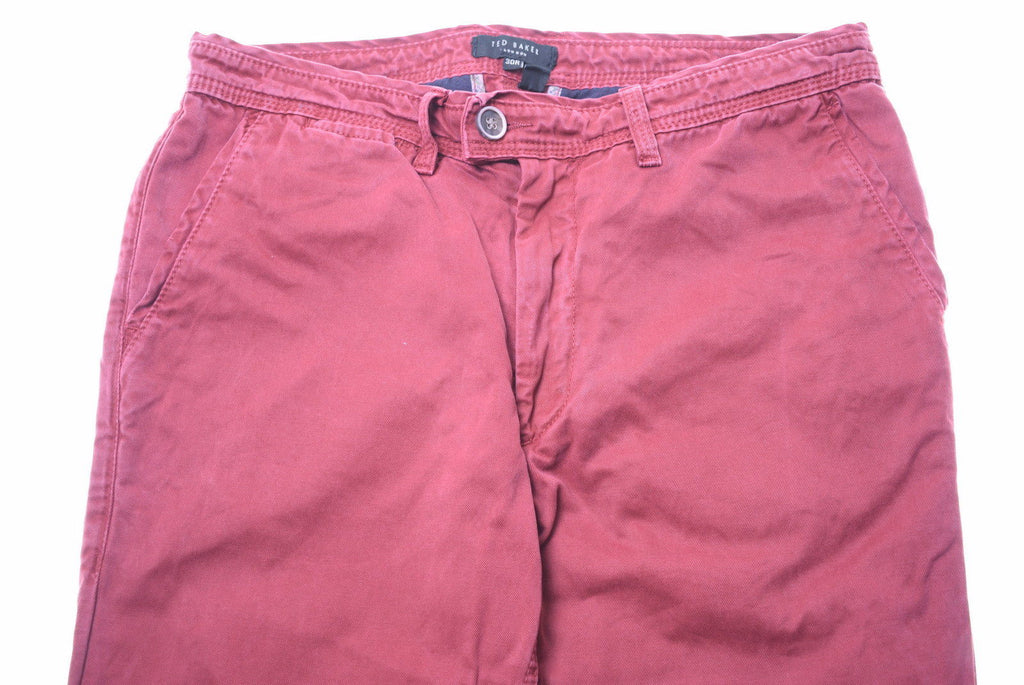 TED BAKER Womens Trousers W30 L30 Burgundy Cotton - Second Hand & Vintage Designer Clothing - Messina Hembry