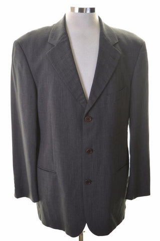 Hugo Boss Mens Blazer Jacket Size 40 Large Grey Stripes Nylon Wool Polyamide