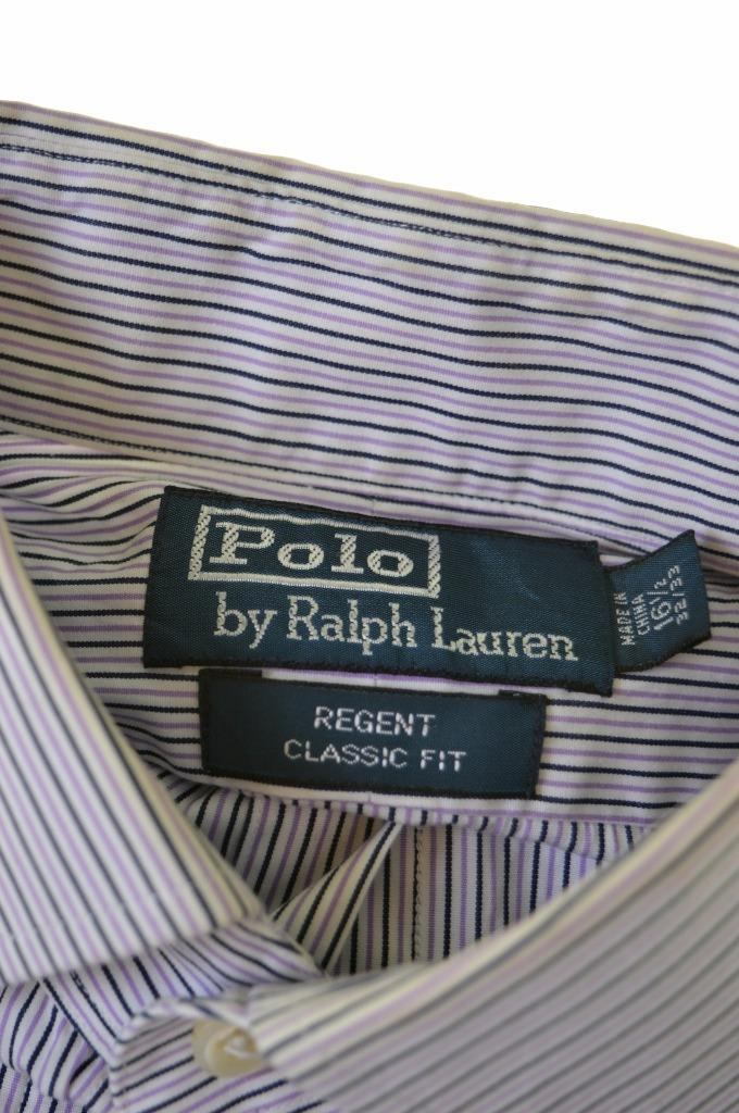 Polo Ralph Lauren Mens Shirt Size 40/42 16 1/2 Large Multi Stripes Cotton - Second Hand & Vintage Designer Clothing - Messina Hembry