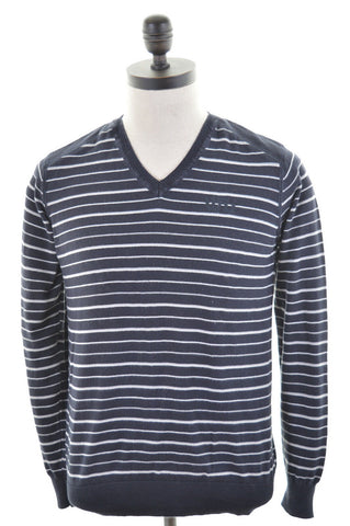 JACK & JONES Mens V-Neck Jumper Sweater Small Black White Stripes Cotton