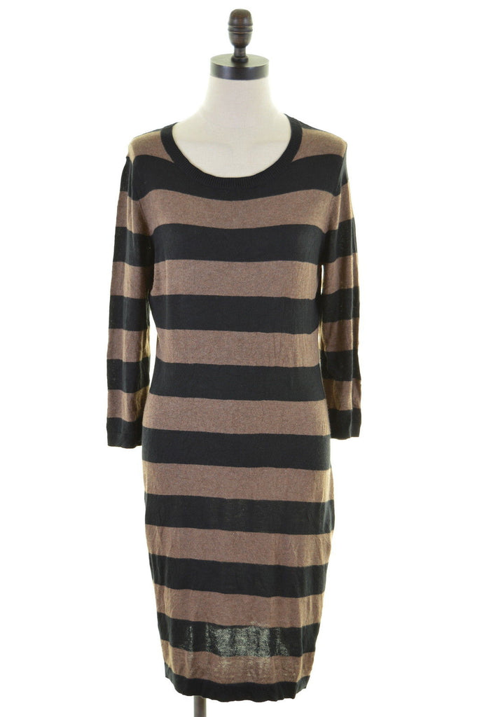 MASSIMO Womens Sweater Dress 3/4 Sleeve Size 12 Medium Black Brown Cotton - Second Hand & Vintage Designer Clothing - Messina Hembry