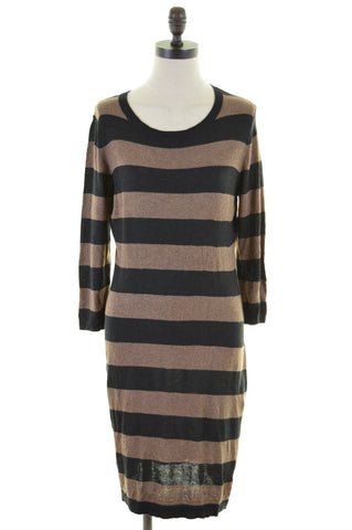 MASSIMO Womens Sweater Dress 3/4 Sleeve Size 12 Medium Black Brown Cotton