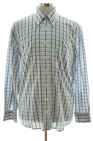 Daniel Hechter Mens Shirt Medium Blue Check Cotton