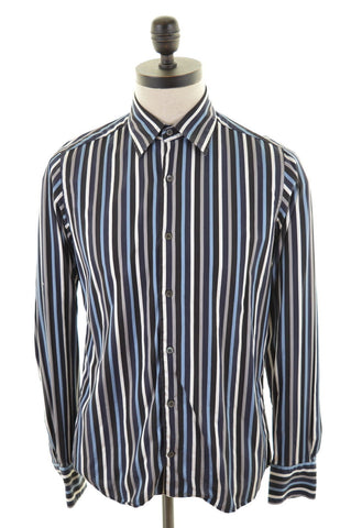 TED BAKER Mens Shirt Medium Multi Awning Stripes Cotton