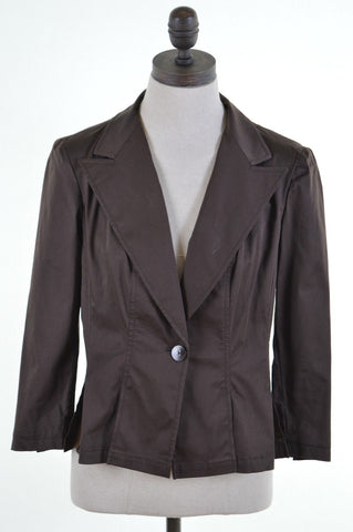 MARELLA Womens Blazer Jacket Size 12 Medium Brown Cotton