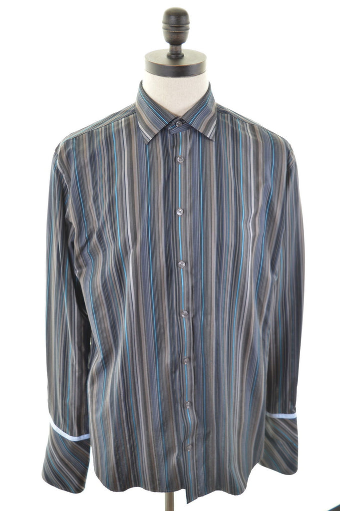 TED BAKER Mens Shirt Large Brown Stripes Cotton - Second Hand & Vintage Designer Clothing - Messina Hembry