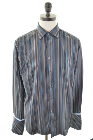 TED BAKER Mens Shirt Large Brown Stripes Cotton