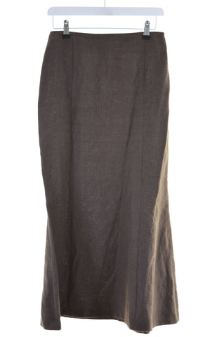 HOBBS Womens Linen Straight Skirt Size 10 Small W26 L35 Brown Linen