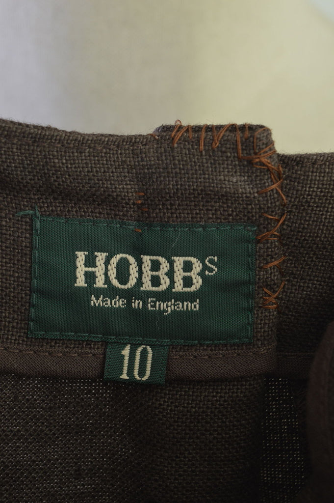 HOBBS Womens Linen Straight Skirt Size 10 Small W26 L35 Brown Linen - Second Hand & Vintage Designer Clothing - Messina Hembry