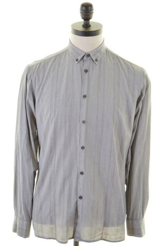 DKNY Mens Shirt Medium Grey Glen Check Cotton
