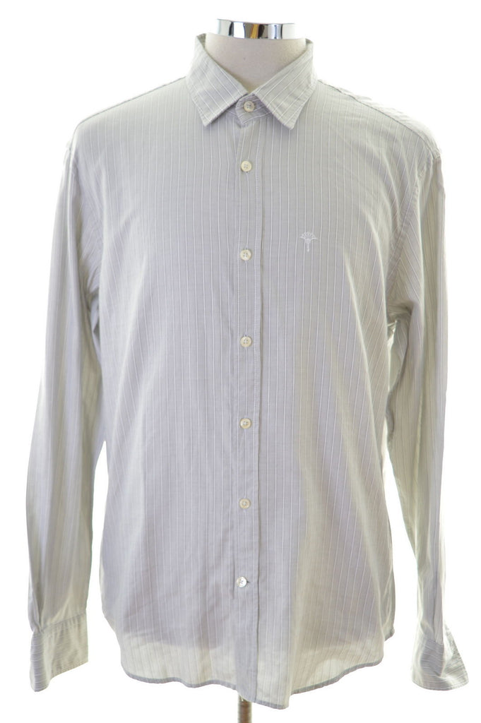 Joop Mens Shirt Large Grey Stripes Cotton - Second Hand & Vintage Designer Clothing - Messina Hembry