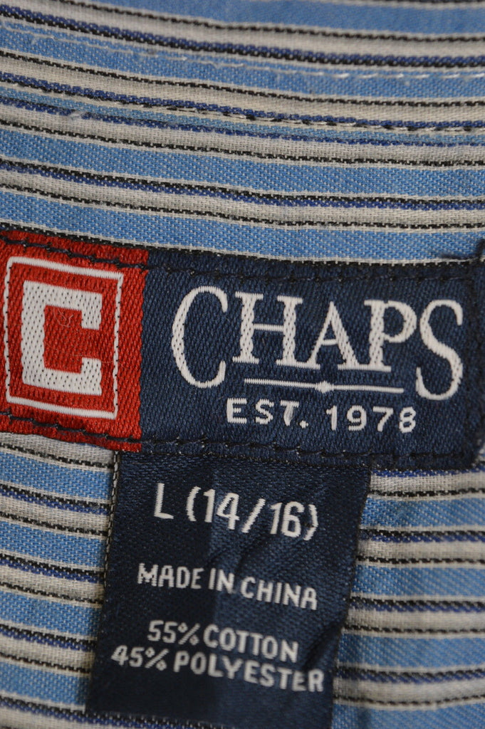 CHAPS Boys Shirt Size 16 Large Multi Stripes Cotton Polyester - Second Hand & Vintage Designer Clothing - Messina Hembry