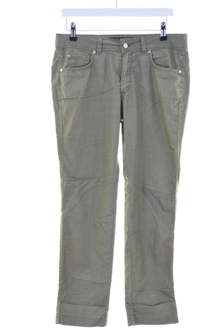Trussardi Womens Trousers W28 L29 Green Cotton Straight