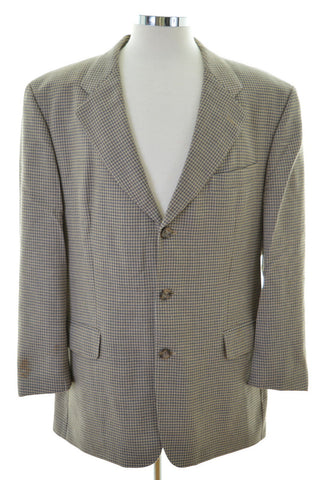 Hugo Boss Mens Blazer Jacket Size 42 Large Beige Check Wool