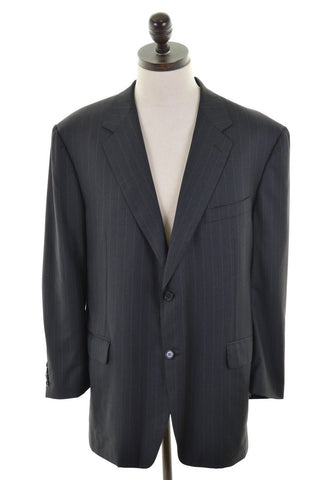 CANALI Mens Blazer Jacket Size 42 Large Black Pencil Stripe Wool