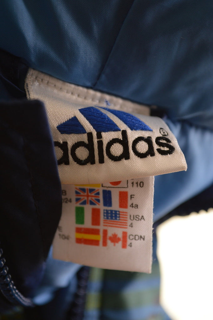 ADIDAS Boys Padded Jacket Size 4T Large Blue Polyester - Second Hand & Vintage Designer Clothing - Messina Hembry