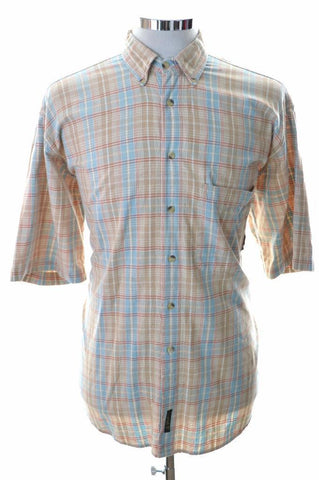 Timberland Mens Shirt Medium Beige Check Cotton Loose Fit