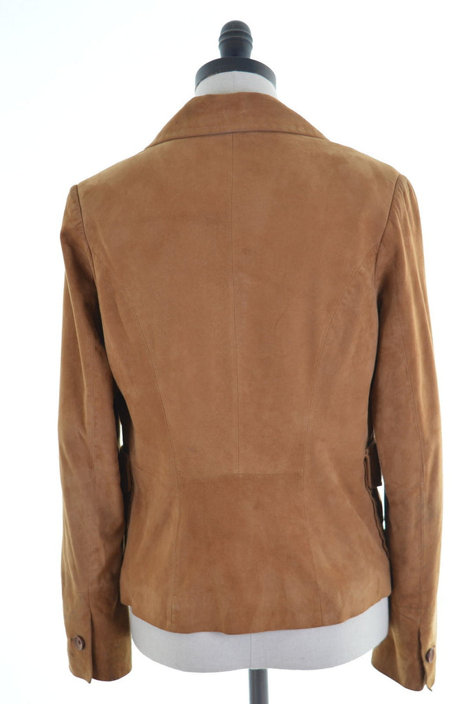 Arma Womens Leather Blazer Size 10 Small Brown Polyester - Second Hand & Vintage Designer Clothing - Messina Hembry