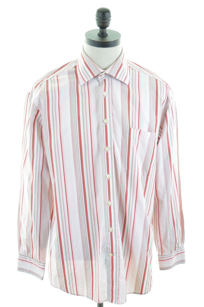 GANT Mens Shirt Large Red White Stripes Cotton Dress Fit - Second Hand & Vintage Designer Clothing - Messina Hembry