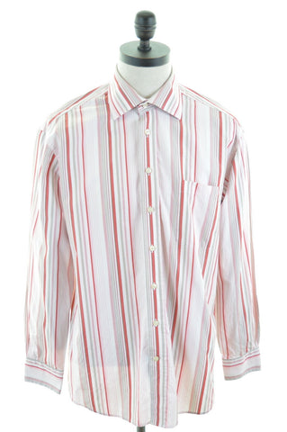 GANT Mens Shirt Large Red White Stripes Cotton Dress Fit