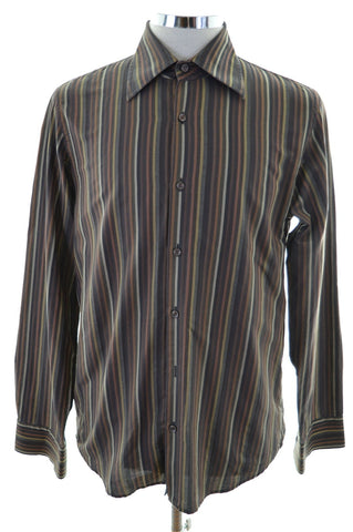 Hugo Boss Mens Shirt Size 39 15 1/2 M Multi Stripes Cotton