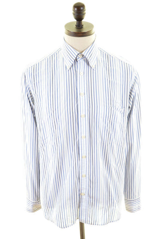 GANT Mens Shirt Medium Blue White Bengal Stripe Cotton Regular Fit