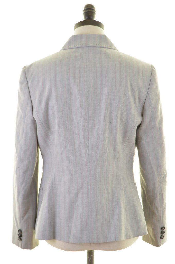 RICHMOND Womens 2 Button Blazer Jacket Size 14 Large Grey Stripes Polyester - Second Hand & Vintage Designer Clothing - Messina Hembry