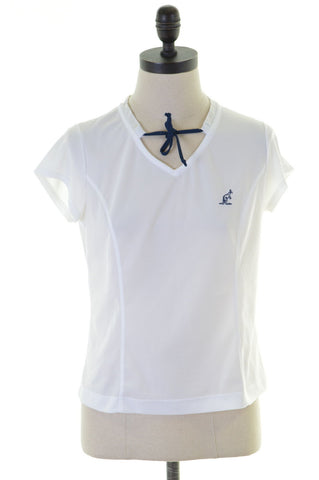 AUSTRALIAN L'ALPINA Womens T-Shirt Top Size 44 16 Large White Polyester