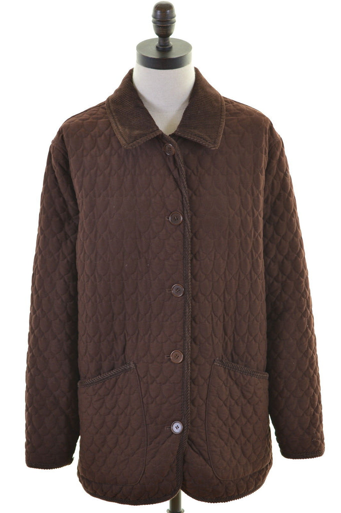 AQUASCUTUM Womens Quilted Jacket Size 14 Medium Brown Cotton Modal Vintage - Second Hand & Vintage Designer Clothing - Messina Hembry