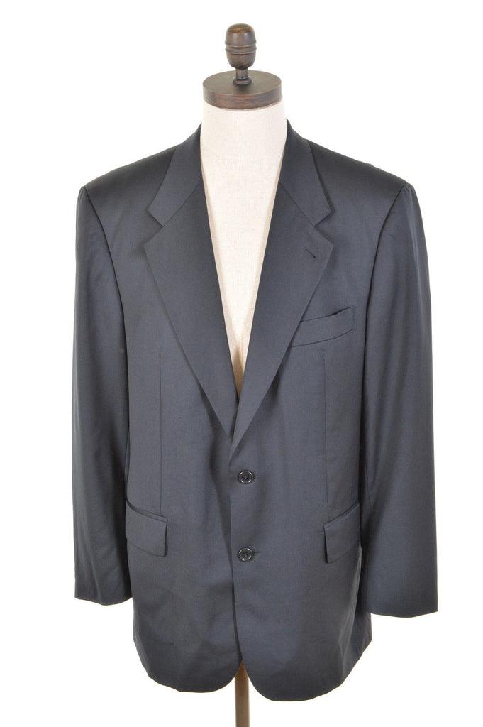 HUGO BOSS Mens 2 Button Blazer Jacket Size 42 Large Black Wool - Second Hand & Vintage Designer Clothing - Messina Hembry