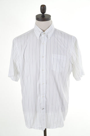 NAUTICA Mens Shirt Large White Blue Pencil Stripes Cotton