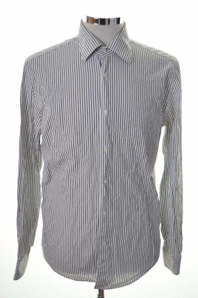 Joop Mens Shirt Size 39 15 1/2 Medium White Black Stripe Cotton - Second Hand & Vintage Designer Clothing - Messina Hembry