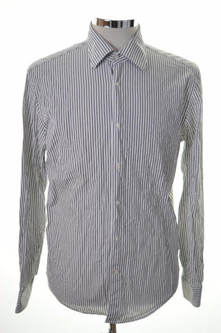 Joop Mens Shirt Size 39 15 1/2 Medium White Black Stripe Cotton