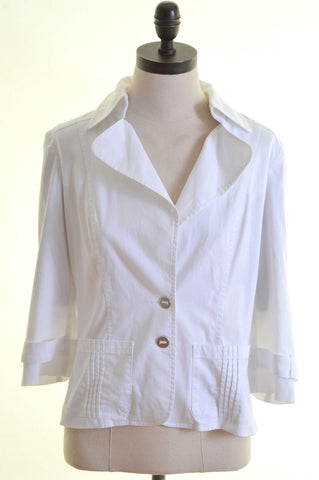 PENNY BLACK Womens 2 Button Blazer Jacket Size 12 Medium White Cotton